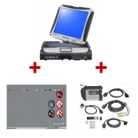 MB SD Connect Compact 4 Star Diagnosis With Panasonic CF19 Laptop Installed V2019.9 MB Star C4 Software Full Set Ready To Use